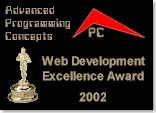Advanced Programming Concepts Web Development Excellence Award for 2002